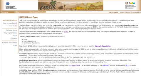 Figure 2 –  OASIS web site.